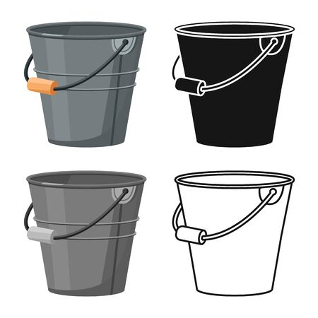 Vector illustration of bucketful and housework logo. Set of bucketful and equipment stock symbol for web. Illusztráció