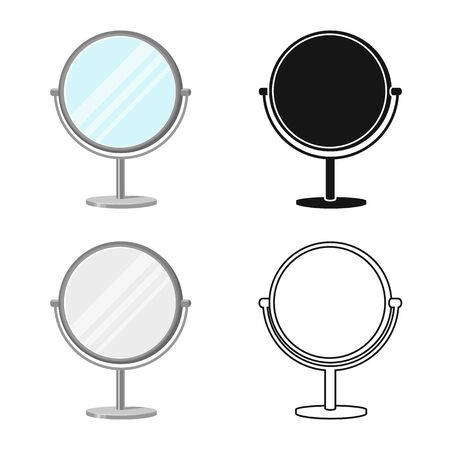 Vector illustration of mirror and circle icon. Graphic of mirror and metal stock symbol for web.