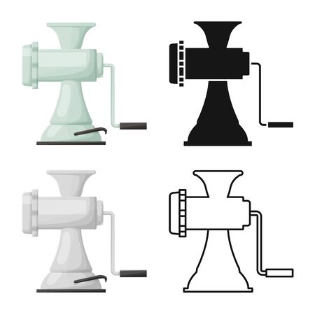 Vector design of meat and grinder icon. Graphic of meat and handle vector icon for stock.