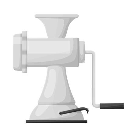 Isoliertes Objekt aus Fleisch- und Mühlenlogo. Grafik von Fleisch und Griffvektorsymbol für Lager. Logo