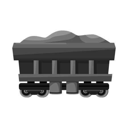 Vector design of wagon and cargo icon. Graphic of wagon and coal stock vector illustration.