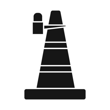 Vector illustration of cone and road logo. Graphic of cone and signal stock vector illustration.