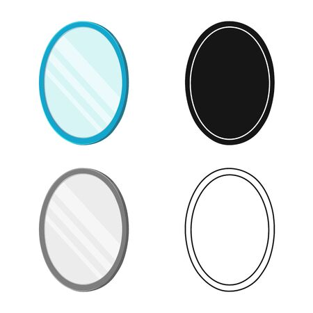 Vector illustration of mirror and circle symbol. Graphic of mirror and metal stock symbol for web.