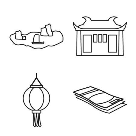 Disegno vettoriale del Vietnam e logo tradizionale. Raccolta di vietnam e simbolo di borsa orientale per il web.