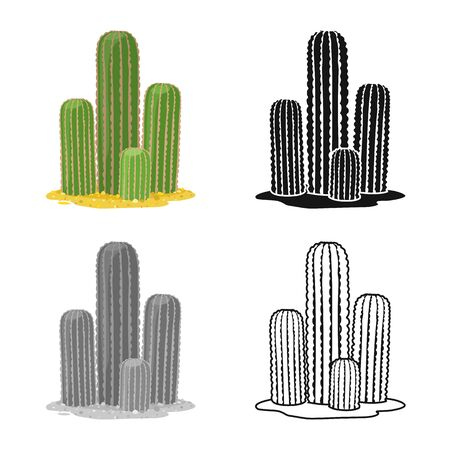 Isolated object of cactus and garden icon. Web element of cactus and botanic stock vector illustration. Иллюстрация