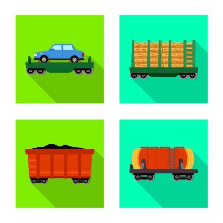 Vector illustration of transport and railroad logo. Set of transport and logistics stock symbol for web. Stock Illustratie