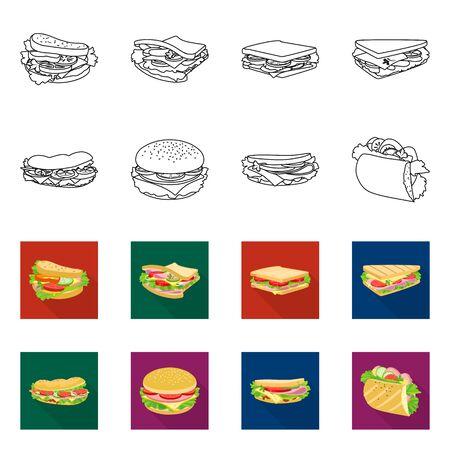 Vector illustration of dinner and cuisine symbol. Set of dinner and breakfast stock symbol for web.