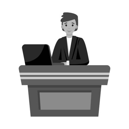 Isolated object of presenter and show sign. Graphic of presenter and man stock symbol for web.