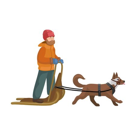 Dog with sled vector icon.Cartoon vector icon isolated on white background dog with sled.