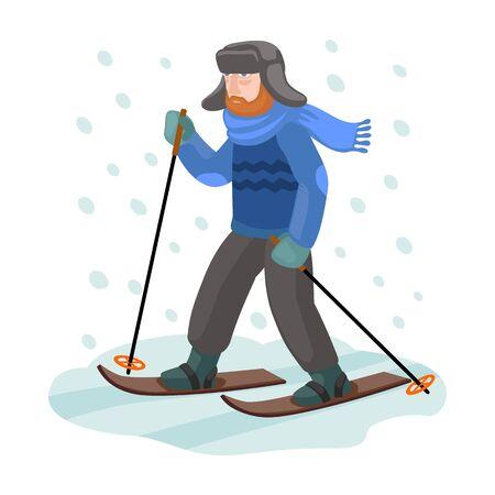 Skier on ski vector icon.Cartoon vector icon isolated on white background skier on ski. Фото со стока - 133630574