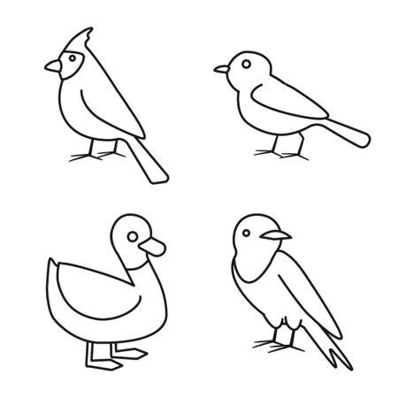 Isoliertes Objekt des Tier- und Wildlogos. Satz von Tier- und Gefiedervektorsymbolen für Lager. Logo