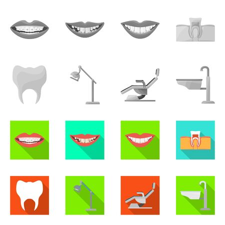 Vector design of dentistry and care logo. Collection of dentistry and dental vector icon for stock.