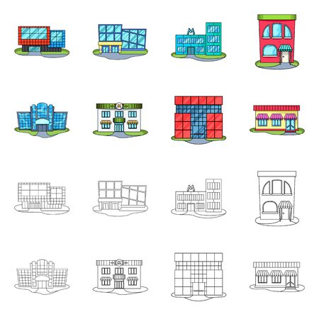Vector design of supermarket and building sign. Set of supermarket and local stock symbol for web. Ilustrace