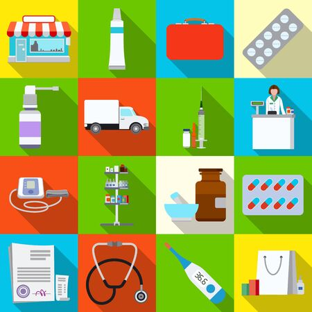 Isolated object of pharmacy and hospital symbol. Set of pharmacy and business vector icon for stock.