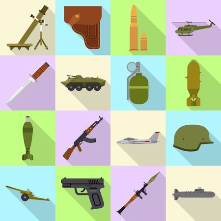 Vector illustration of weapon and gun sign. Set of weapon and army stock vector illustration. Ilustração