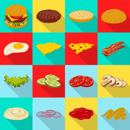 Vector illustration of burger and sandwich symbol. Collection of burger and slice vector icon for stock.