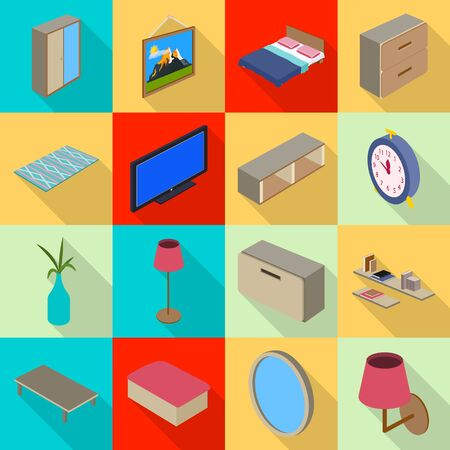 Isolated object of bedroom and room icon. Collection of bedroom and furniture vector icon for stock.  イラスト・ベクター素材