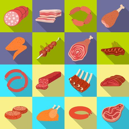 Isolated object of meat and ham sign. Collection of meat and cooking stock vector illustration.