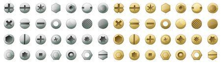 Tête d'icônes de dessin animé de vecteur de fixation. Fixation de tête d'icônes isolées de boulon. Vector illustration métal rivet de vis sur fond blanc.