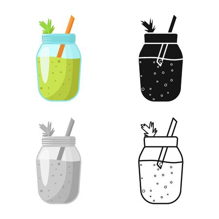 Vector design of smoothie and celery logo. Graphic of smoothie and juice vector icon for stock.