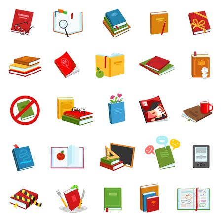 Library books vector cartoon set icon.Vector illustration school literature on white background .Set cartoon icons library book and dictionary. Illusztráció