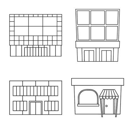 Oggetto isolato del simbolo del supermercato e dell'edificio. Raccolta di supermercato e città illustrazione vettoriale d'archivio.