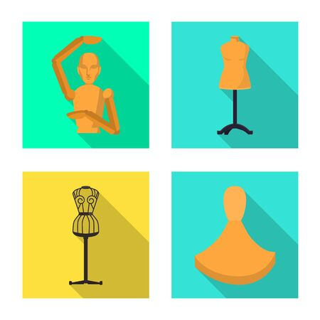 Isolated object of mannequin and fashion logo. Collection of mannequin and atelier stock vector illustration.