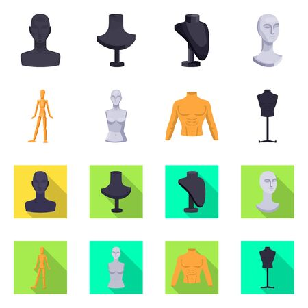 Isolated object of mannequin and fashion symbol. Collection of mannequin and atelier stock vector illustration.