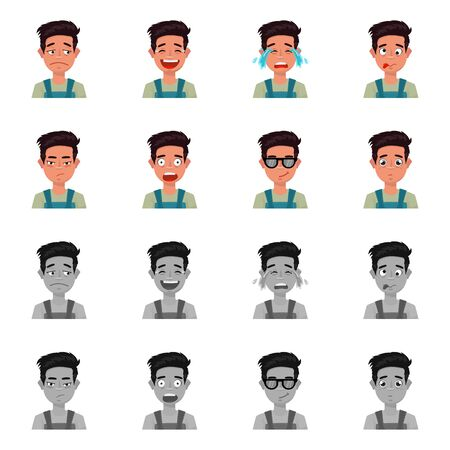 Vector design of face and boy logo. Collection of face and expression stock vector illustration.