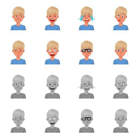 Vector design of face and boy logo. Collection of face and young stock symbol for web. Illusztráció