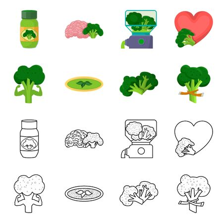 Isolated object of eating and diet icon. Set of eating and vegetarian vector icon for stock.