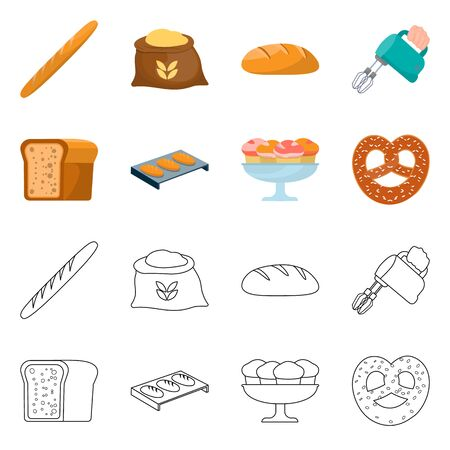 Isolated object of bakery and natural symbol. Set of bakery and business stock vector illustration.