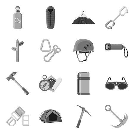 Vector illustration of mountaineering and peak sign. Set of mountaineering and camp stock symbol for web. Ilustração
