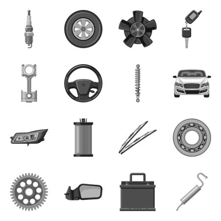 Isolated object of auto and part logo. Collection of auto and car vector icon for stock.