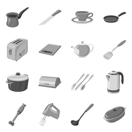 Vector design of kitchen and cook icon. Collection of kitchen and appliance vector icon for stock. Standard-Bild - 133632233