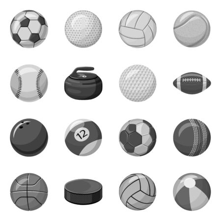 Vector illustration of sport and ball icon. Set of sport and athletic stock vector illustration. Çizim