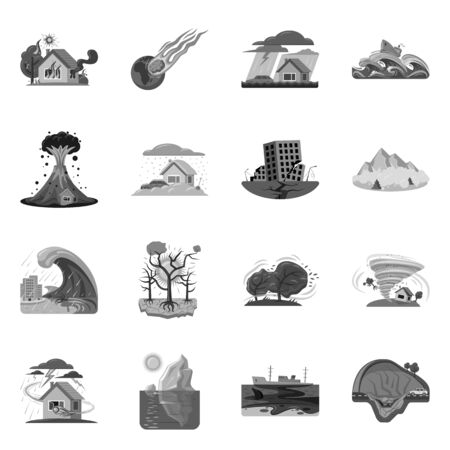 Vector design of natural and disaster icon. Collection of natural and risk stock symbol for web. Foto de archivo - 133632261