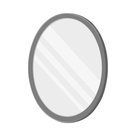 Vector illustration of mirror and circle logo. Web element of mirror and metal vector icon for stock.