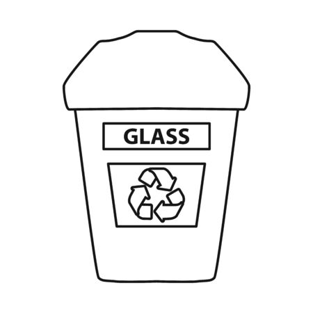 Vector design of dustbin and trash symbol. Graphic of dustbin and glass stock symbol for web.
