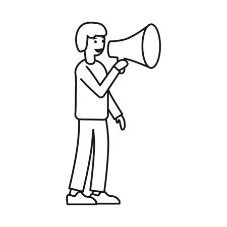 Vector design of man and loudspeaker logo. Web element of man and megaphone stock symbol for web.