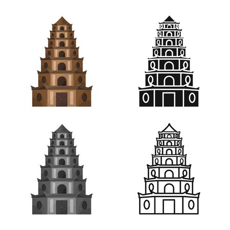 Vector design of tower and vietnam icon. Collection of tower and city stock vector illustration.