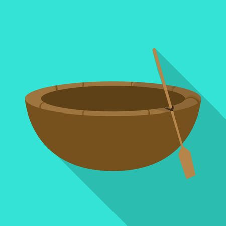 Vector illustration of boat and vietnamese symbol. Set of boat and paddle stock symbol for web.