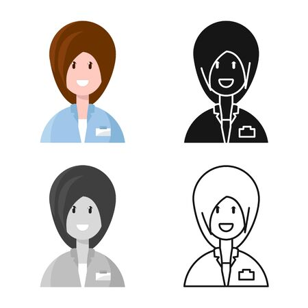 Vector design of physician and girl icon. Set of physician and women vector icon for stock. Ilustração