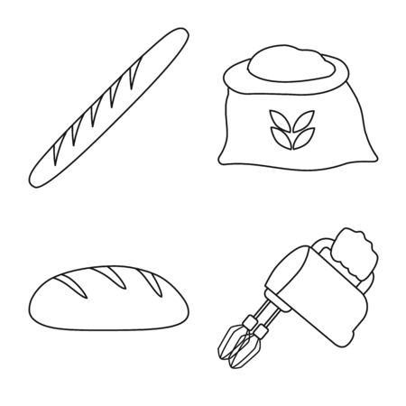 Vector design of bakery and natural sign. Set of bakery and utensils vector icon for stock. 向量圖像