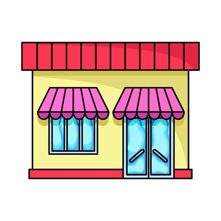 Vector design of store and grocery logo. Set of store and facade stock vector illustration.