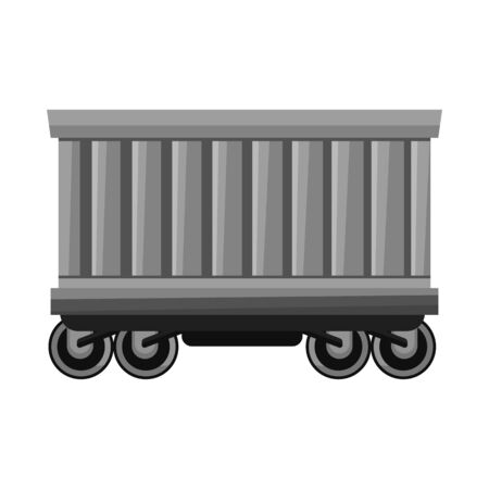 Isolated object of wagon and container symbol. Graphic of wagon and boxcar stock vector illustration.