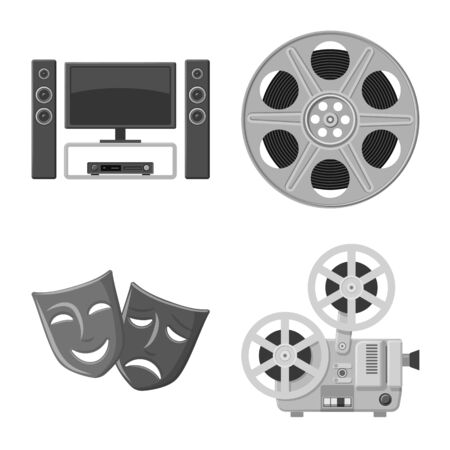 Vector illustration of cinematography and studio logo. Collection of cinematography and filming stock symbol for web. Illustration