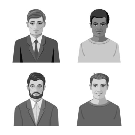 Vector design of face and person. Set of face and portrait stock symbol for web.  イラスト・ベクター素材