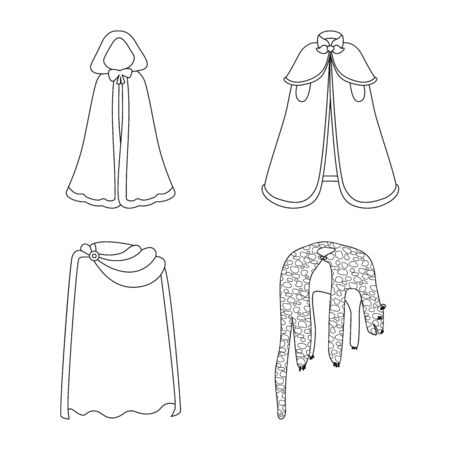 Vector design of robe and garment symbol. Collection of robe and cloth stock symbol for web. Ilustração