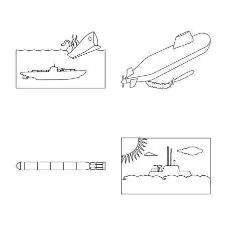 Vector illustration of boat and navy logo. Set of boat and deep vector icon for stock. Ilustração